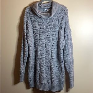 Warehouse One Size 2X Grey Knit Long Sweater Top